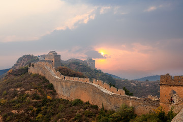 great wall in sunset