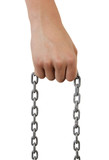 young boy's hand holding a chain