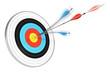 cohérence, compétence - cible et flèche fendue