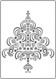 Openwork Christmas tree on a white background.Graphic arts. poster