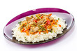 Asian food - chicken with vegetables and rice
