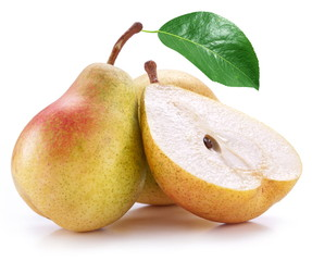 Pears on a white