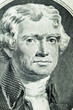 Portrait of President Thomas Jefferson on two-dollar banknote