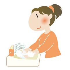 手を洗う女性