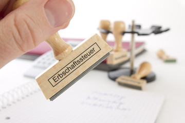 Stempel mit Aufschrift Erbschaftssteuer