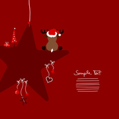 Reindeer Sitting On Dark Red Star & Symbols