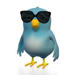 Bluebird with sunglasses
