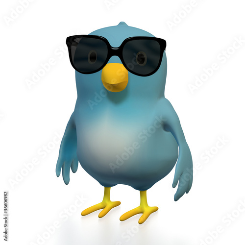 canvas print picture Bluebird with sunglasses