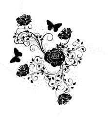 floral roses noires