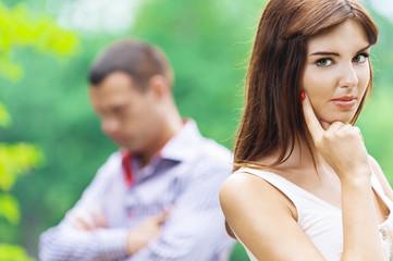 portrait beautiful romantic young woman sad man