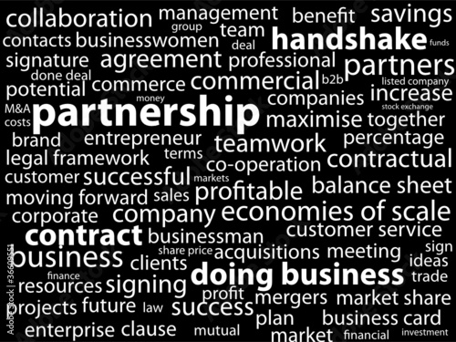 """""""PARTNERSHIP"""" Tag Cloud (business partners clients projects b2b)"""