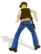 Vector illustration of a cowboy in duel position