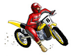 Illustration of a man on motocross, tracing path included