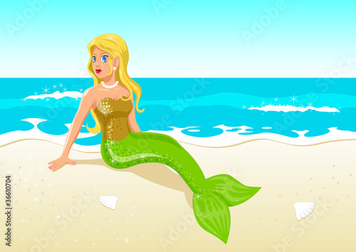 Poster Zeemeermin Vector illustration of a mermaid at the beach