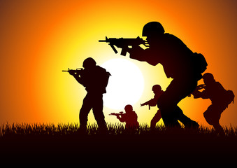 Silhouette illustration of soldiers in assault formation