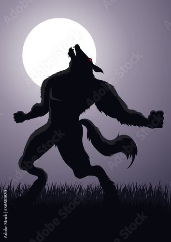 Stock vector of a werewolf at the full moon