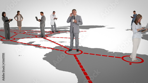 Businessmen on a map