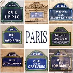 Collage de plaques rues de paris