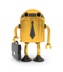 Gold robot businessman