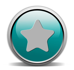 star shape button, turquoise