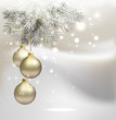 light Christmas background with silver evening balls