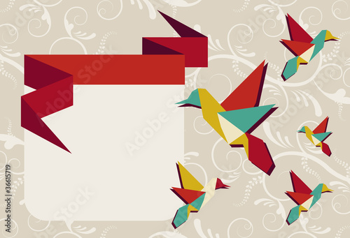 Foto op Canvas Geometrische dieren Origami hummingbird group greeting card