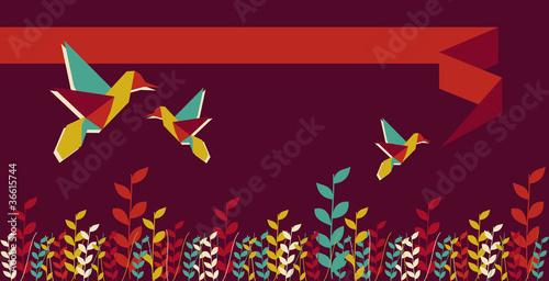 Deurstickers Geometrische dieren Origami hummingbird group banner