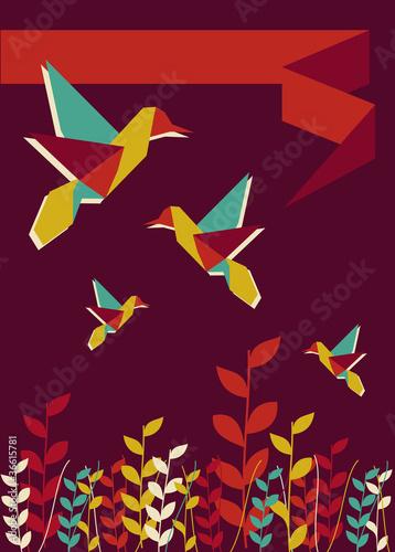 Staande foto Geometrische dieren Origami hummingbird spring time