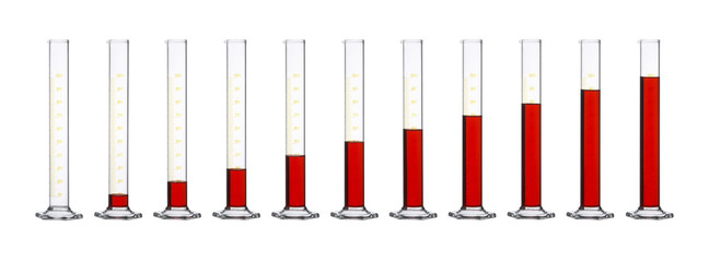 measuring cylinders in a row