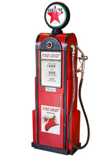 Antique gas pump with white