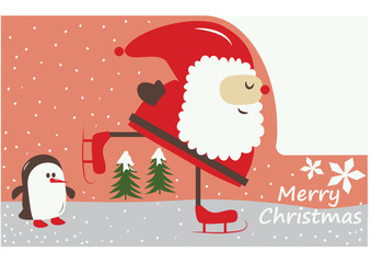 vector, christmas card with a santa claus doing ice-skating