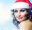 Christmas Woman. Holiday makeup