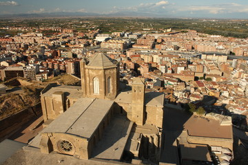 aerial view of La Seu Vella cathedral in Lleida