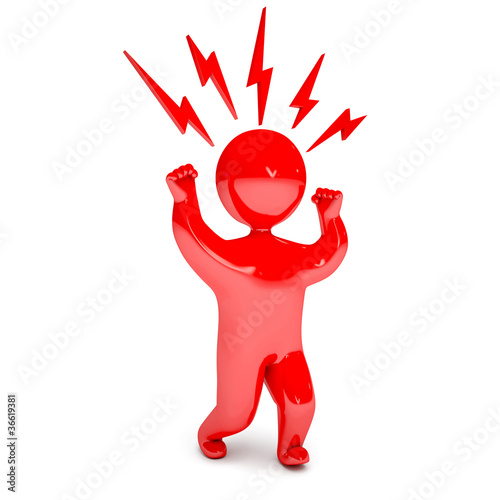 Man waving his fists, stomp feet, red with anger