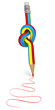 Pencil tied to a node, colorful drawings
