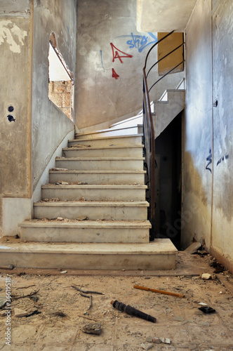 canvas print picture vintage staircase and dirty floor