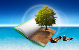 Open book on the water with tree and ducks