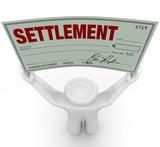 Man Holding Big Settlement Check Agreement Money poster