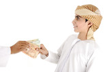 Arabic people, islamic zakat , adult giving money to child