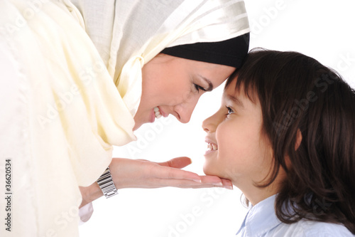 Muslim mother and son loving each other