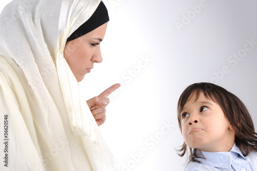 Muslim mother threating  her son
