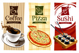 Fototapety Template designs of food banners. Coffee, pizza and sushi.