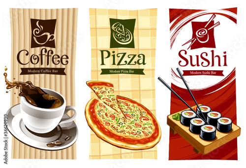 Template designs of food banners. Coffee, pizza and sushi.