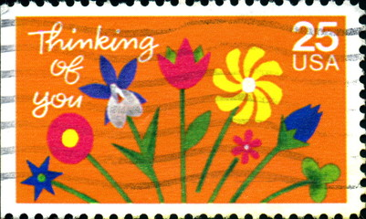 Thinking of you. US Postage.