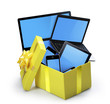 open yellow gift box