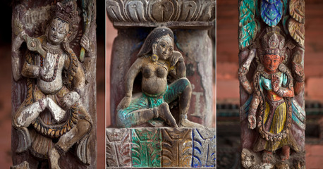 Set of ancient wooden carving at temple in Bhaktapur, Nepal