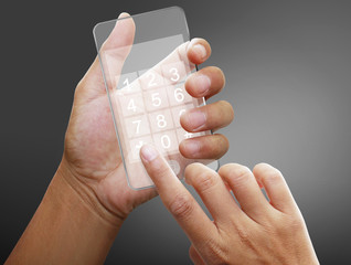 Hand of a caucasian female to hold card, mobile