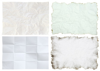 crumpled paper collection isolated