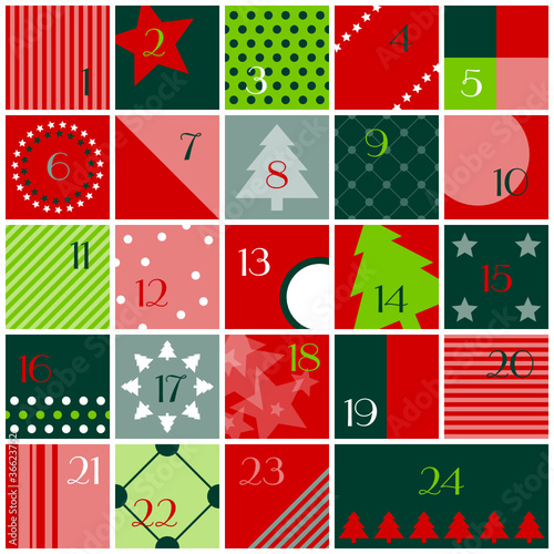 Advent Calendar Red/Light & Dark Green/White