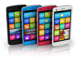 Set of color touchscreen smartphones